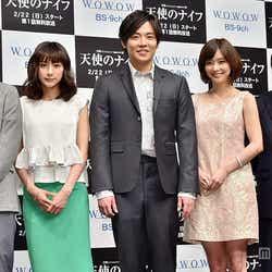 (左から)千葉雄大、藤本泉、小出恵介、倉科カナ、ラサール石井