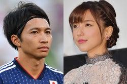柴崎岳選手(Photo by Getty Images)、真野恵里菜(C)モデルプレス