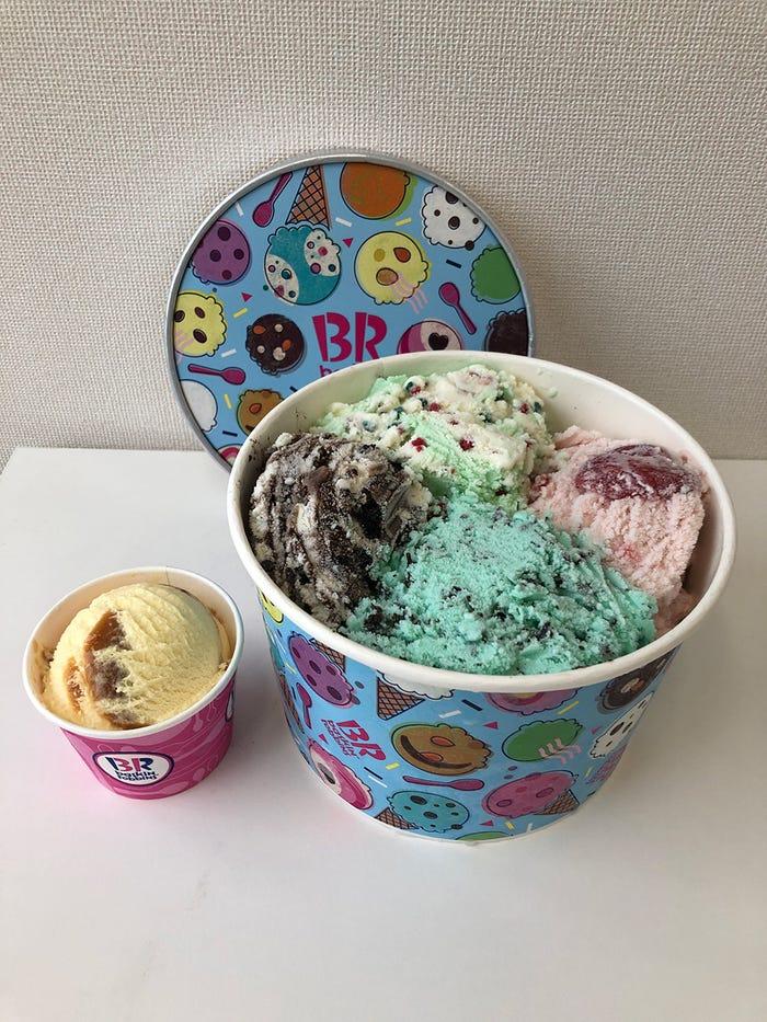 スーパービッグカップとレギュラーカップとの比較/画像提供:B-R サーティワン アイスクリーム
