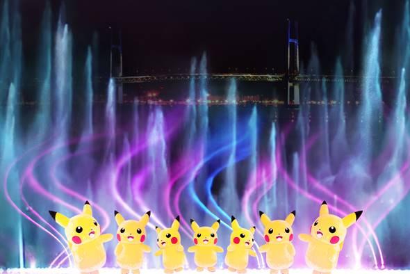ピカチュウたちのチームパフォーマンス<赤レンガパーク>(C)2019 Pokemon. (C)1995-2019 Nintendo/Creatures Inc. /GAME FREAK inc. ポケットモンスター・ポケモン・Pokemonは任天堂・クリーチャーズ・ゲームフリークの登録商標です。