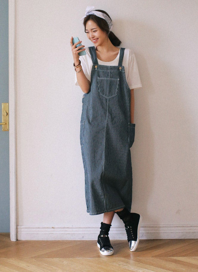 3TYPEサロペットロングスカート・全3「DHOLIC」6,199円(税込)/画像提供:DHOLIC