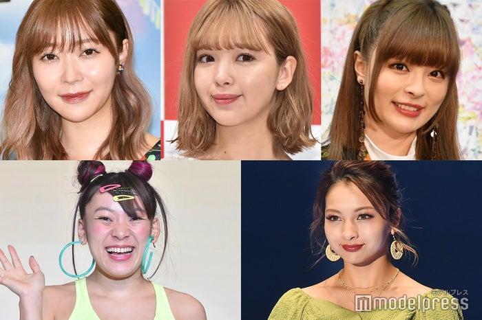 (左上から時計回り)指原莉乃、藤田ニコル、きゃりーぱみゅぱみゅ、ゆきぽよ、フワちゃん (C)モデルプレス