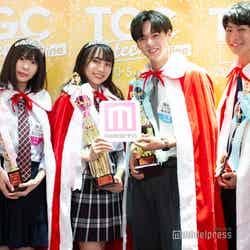 「高一ミスコン2020」準グランプリ・あいのぶちょーさん、あゆかさん、「高一ミスターコン2020」グランプリ・篠本晴輝くん、準グランプリ・南平達矢くん