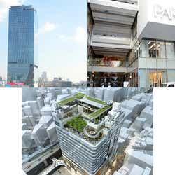 渋谷新3大商業施設(左上から時計回りに)渋谷スクランブルスクエア、渋谷パルコ、渋谷フクラス(C)モデルプレス(画像下:東急不動産)