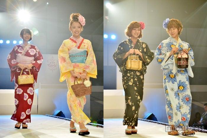 「第2回JUNONプロデュース ガールズコンテスト」で浴衣姿を披露した℃-ute(左から鈴木愛理、中島早貴、萩原舞、岡井千聖)