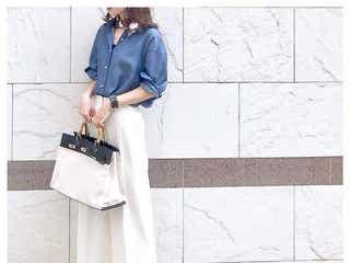 白のワイドパンツできれいめに。大人っぽくておしゃれなホワイトパンツコーデ11選
