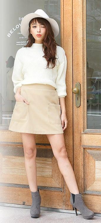 フェイクウールポケットデザイン台形スカート「神戸レタス」1990円(税込)/画像提供:神戸レタス