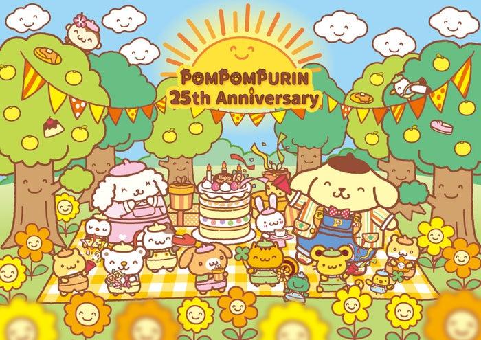 """POMPOMPURIN 25th Anniversary """"にこにこ""""プリンパーティ withチームプリン(C)'76,'90,'96,'21 SANRIO 著作(株)サンリオ"""