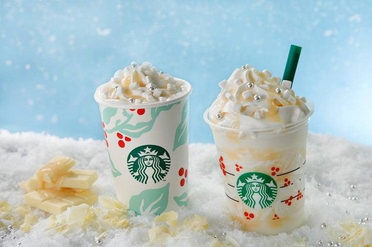 スタバ、雪のように真っ白な新フラペ キラキラと舞い降りる雪片を表現