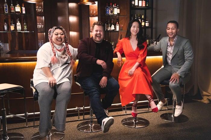 (左から)渡辺直美、ジェームズ・コーデン、タンウェイ、ジョン・レジェンド