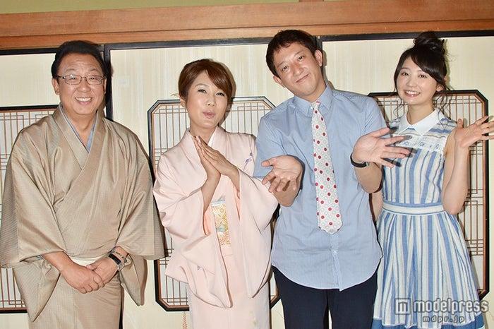 左より:梅沢富美男、はるな愛、高橋茂雄、おのののか