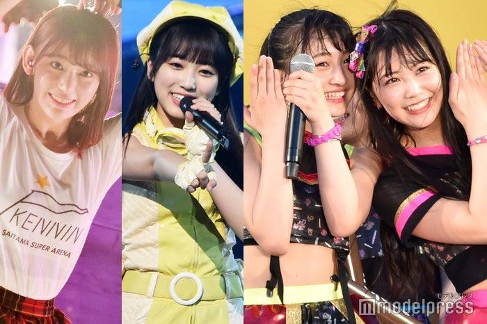 (左から)宮脇咲良、矢吹奈子、山本彩加、白間美瑠 (C)モデルプレス
