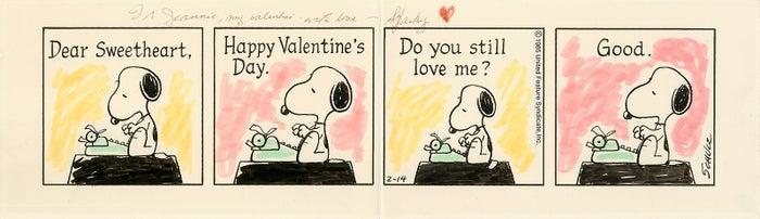 「ピーナッツ」原画 1985年2月14日(C)Peanuts Worldwide LLC