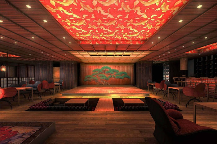 日本橋に劇場型レストラン「水戯庵」誕生、能や狂言を鑑賞しつつ寿司を堪能/画像提供:エイチアイディー・インターアクティカ