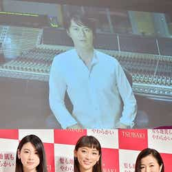 「TSUBAKI」新CM発表会/(上段)福山雅治、(下段左から)三吉彩花、杏、鈴木京香【モデルプレス】