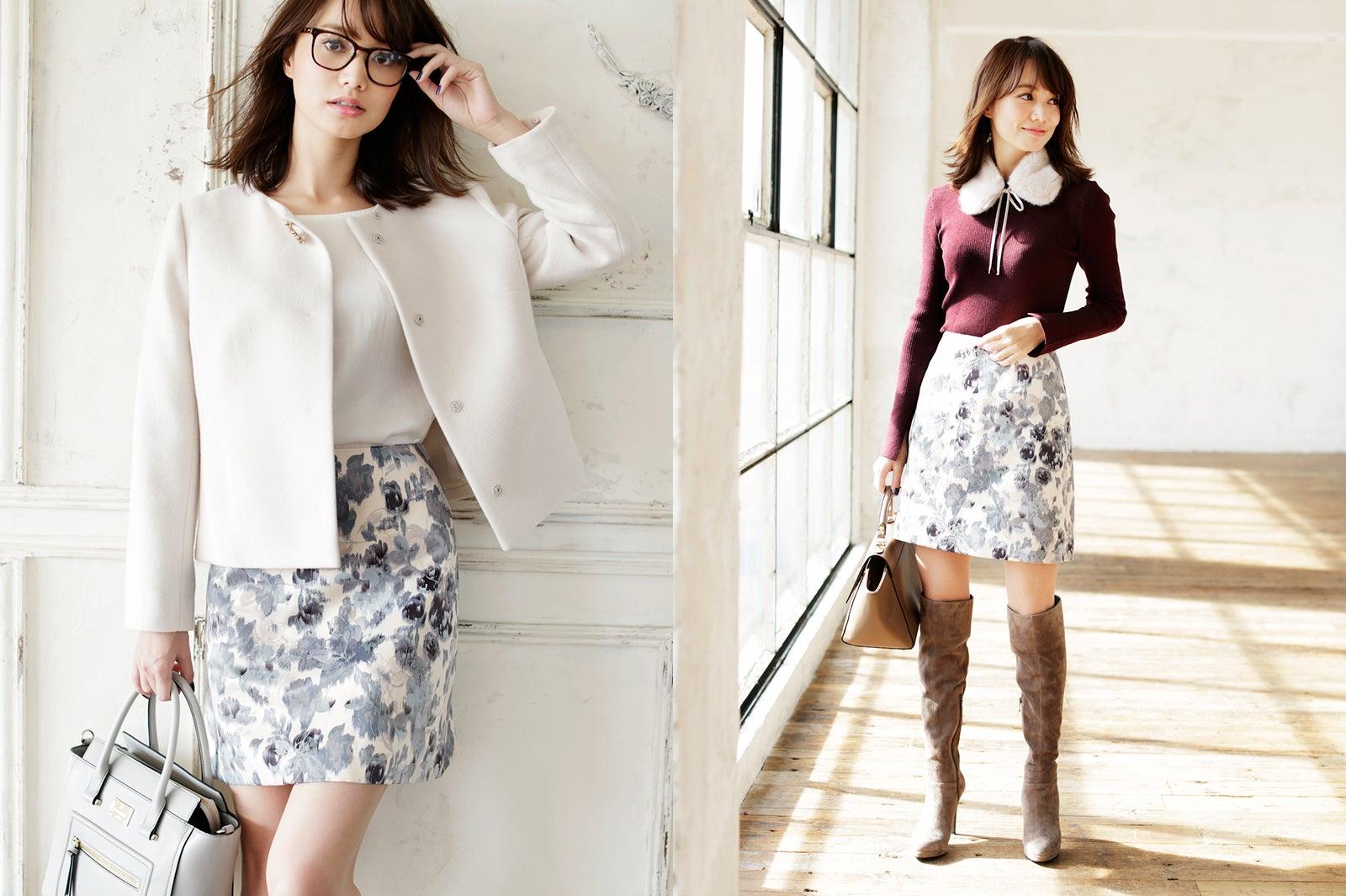 冬も花柄がイイ!\u201cコンサバ\u201dファッションで清楚系女子に