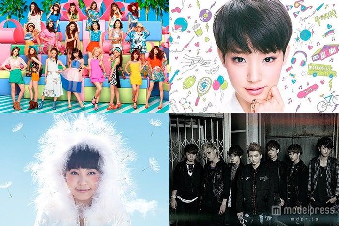 めざましライブに出演する(左上から時計周りに)E-girls、剛力彩芽、超特急、miwa【モデルプレス】