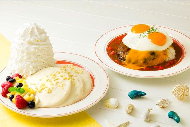 「ハワイアンマカダミアナッツパンケーキ」「ビッグアイランドロコ・モコ」/画像提供:Eggs'n Things Japan