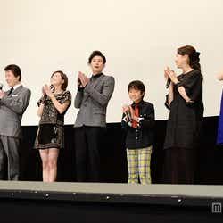 (左より)平川雄一朗監督、鹿賀丈史、広末涼子、岡田将生、巨勢竜也、木南晴夏、松井愛莉