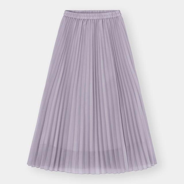 くすみパープルのオーガンジー素材プリーツスカート