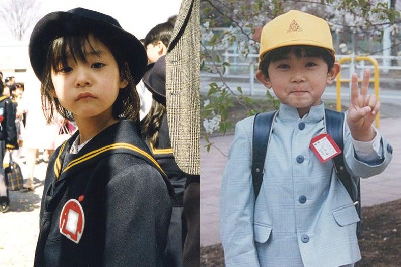 イベントで公開された幼少期写真(左から)新木優子(