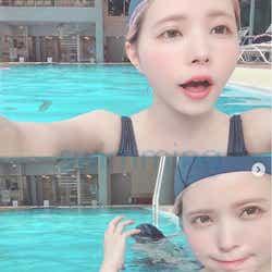 モデルプレス - 益若つばさ、息子とのプールショット公開「レア感ある」水着姿に反響