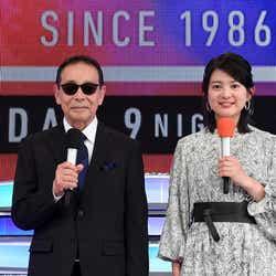 「ミュージックステーション 3時間半スペシャル」放送決定(左から)タモリ、並木万里菜(C)テレビ朝日