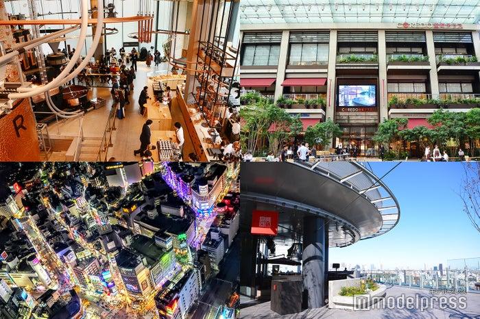 右上から時計回り:COREDO室町テラス、セラヴィ東京、渋谷スカイ、スターバックス リザーブ ロースタリー 東京(C)モデルプレス
