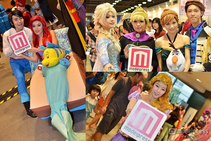 ディズニーの人気アニメ「リトル・マーメイド」や「アナと雪の女王」、「塔の上のラプンツェル」などのキャラクターコスプレで来場者した人々の姿も