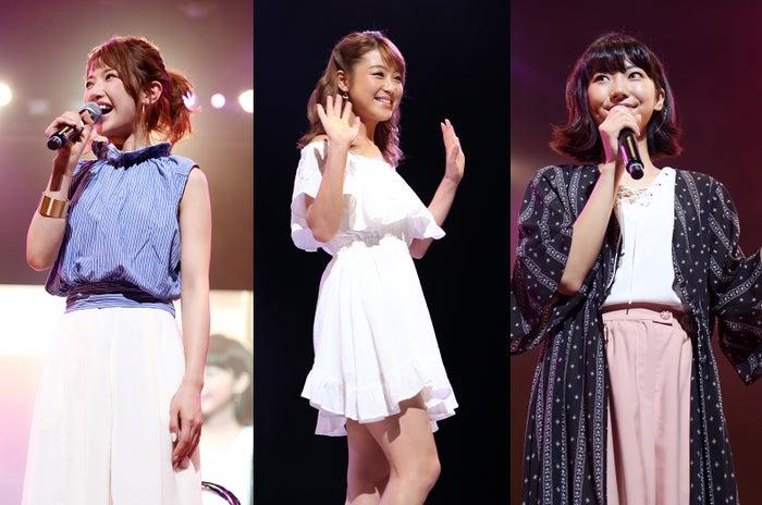「ベルェベルコレクション2016」に出演した(左から)くみっきー、鈴木奈々、武田玲奈