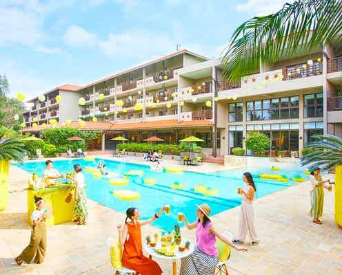 星野リゾート 西表島ホテル「パインビアフェス」パイン一色のプールサイドで南国気分