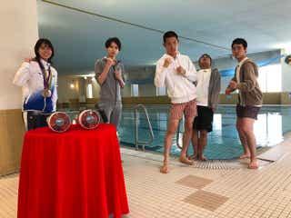"""""""カナヅチ""""HiHi Jets井上瑞稀、ひみつ道具で一流アスリートと水泳対決"""