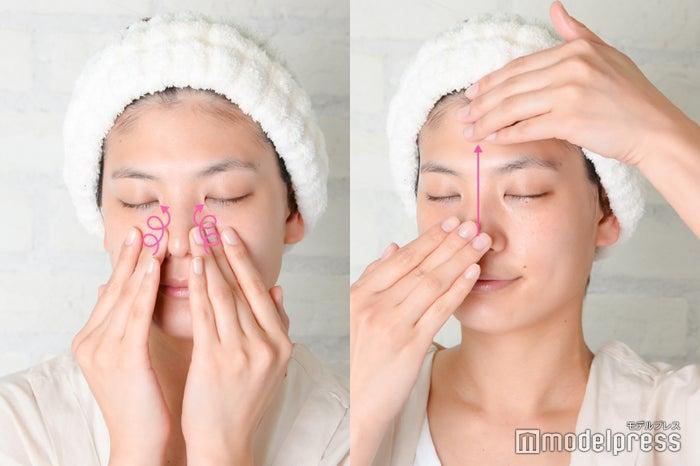 指先を使って小鼻のまわりも丁寧に(C)モデルプレス