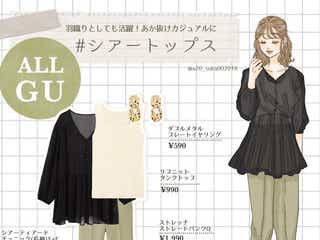 【GU】くすみグリーンが可愛い美脚パンツが楽なのにきちんと見え!今っぽフェミニンカジュアル