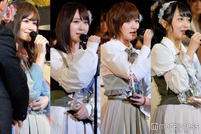 (左から)込山榛香、高橋朱里、岡田奈々、向井地美音 (C)モデルプレス