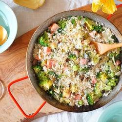 フライパンで簡単!野菜とベーコンのヘルシーリゾットレシピ
