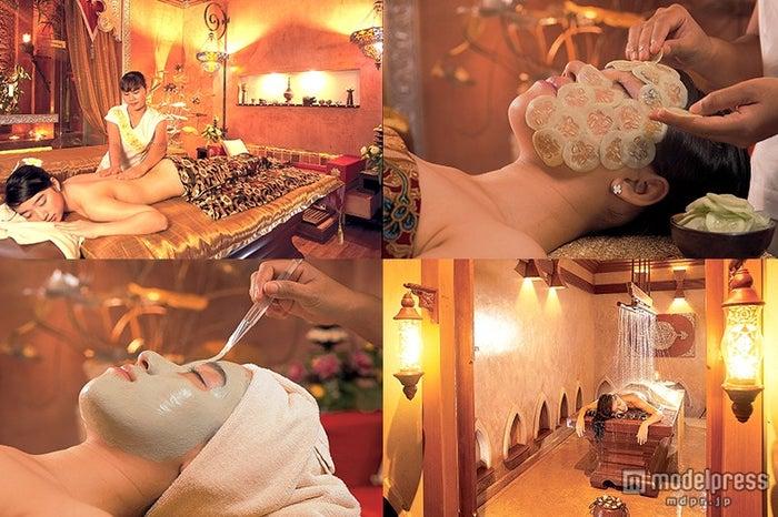 タイ古式、インド式、フェイシャル、シャワーミスト等30種類以上のスパメニューが受けられる