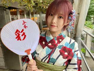 山本彩、浴衣×ピンク髪姿に絶賛の声 誕生日を田中将大投手も祝福
