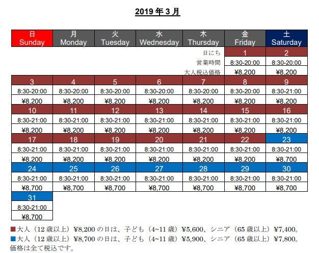 1デイ・パス価格(2019年3月)/画像提供:ユー・エス・ジェイ