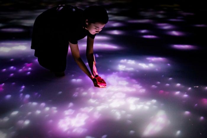 人と共に踊る鯉によって描かれる水面のドローイング - Infinity/画像提供:チームラボ