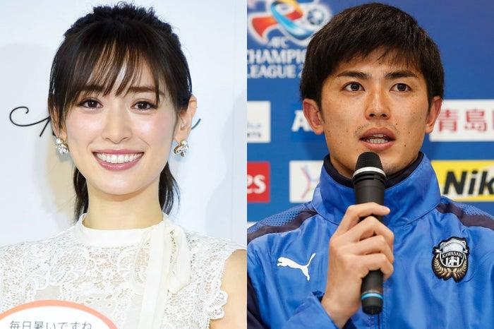 熱愛報道の泉里香、谷口彰悟選手(写真右はGetty Images)