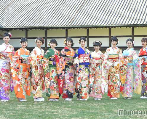 剛力彩芽・藤田ニコルらオスカー美女10人、艶やか晴れ着姿で集結