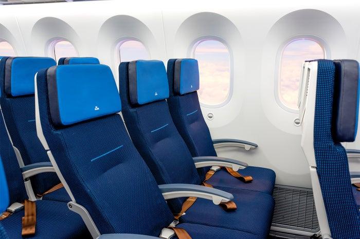 エコノミークラスの鮮やかなブルーのシート(提供写真)