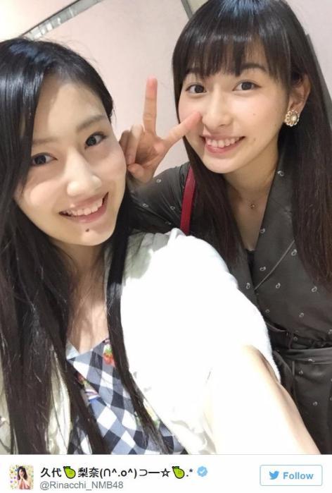 NMB48の久代梨奈とjuice=juiceの植村あかり(久代梨奈Twitterより)