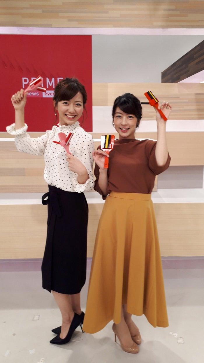 オンエア後に生野アナウンサーとパシャリ!/内田嶺衣奈アナウンサー(提供写真)