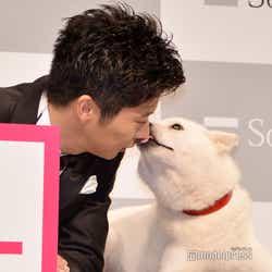 白戸家のお父さんに鼻キスされた田中圭(C)モデルプレス