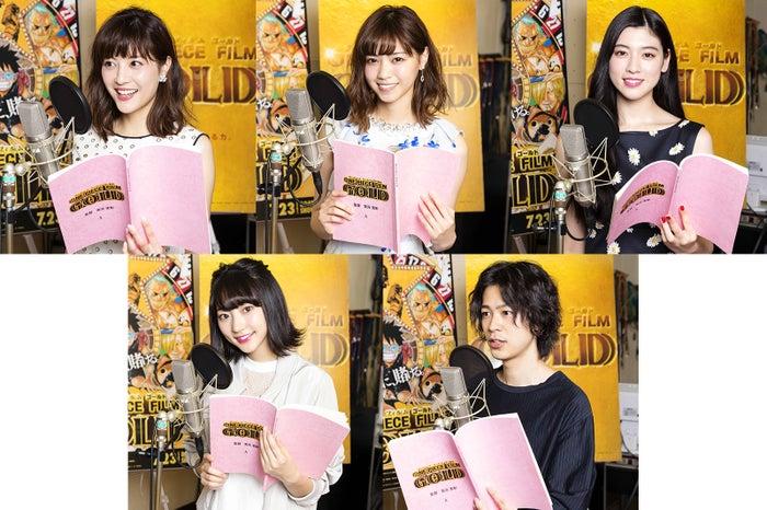 映画「ONE PIECE FILM GOLD」で声優を務める(左上から時計回り)佐藤ありさ、西野七瀬、三吉彩花、成田凌、武田玲奈