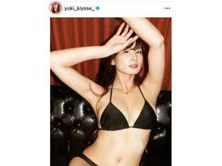 清瀬汐希、黒水着姿で自身のファンクラブ立ち上げを告知!