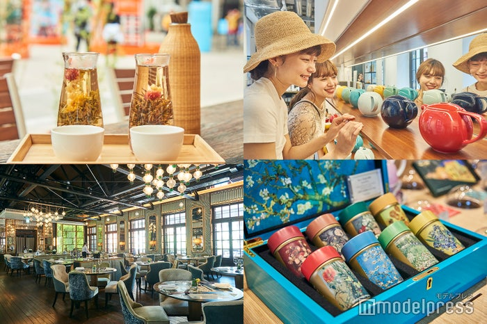 左上から時計回り:最高級の中国茶が揃う「楽茶軒」でティータイム/香港で絶大な人気を誇るテーブルウェアブランド「LOVERAMICS」/ゴッホのコンセプトストア「Van Gogh SENSES Gifts」の8つのオリジナルティーセット/広東料理の奥深さに酔いしれる「The Chinese Library」の店内 (C)モデルプレス