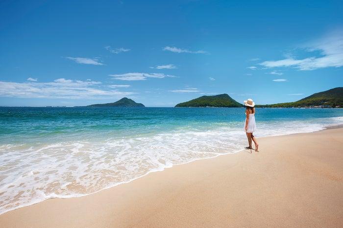 青く澄み渡る海を見ながら砂浜を散策するのもおすすめ/Destination NSW